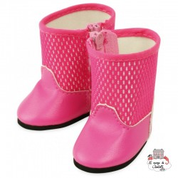 Bottes roses with zipper - PCO-P603909 - Petitcollin - Doll's Accessories - Le Nuage de Charlotte