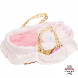 Moses basket with pink flowers filling 28 cm - PCO-P800106 - Petitcollin - Doll's Accessories - Le Nuage de Charlotte