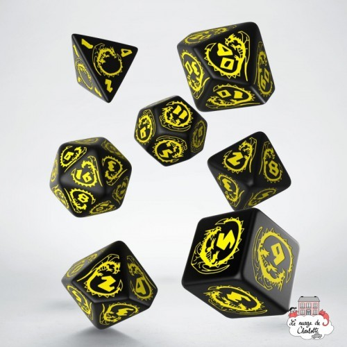 Dragons Black & Yellow Dice Set (7) - QWO-SDRA07 - Q Workshop - Dices, bags and other accessories - Le Nuage de Charlotte
