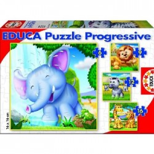4 puzzles progressive - Wild Animals - EDU-15619 - Educa Borras - For littles - Le Nuage de Charlotte