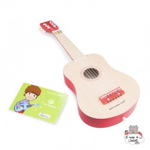 guitar de luxe - naturel/red - NCT-10300 - New Classic Toys - Musical Instruments - Le Nuage de Charlotte