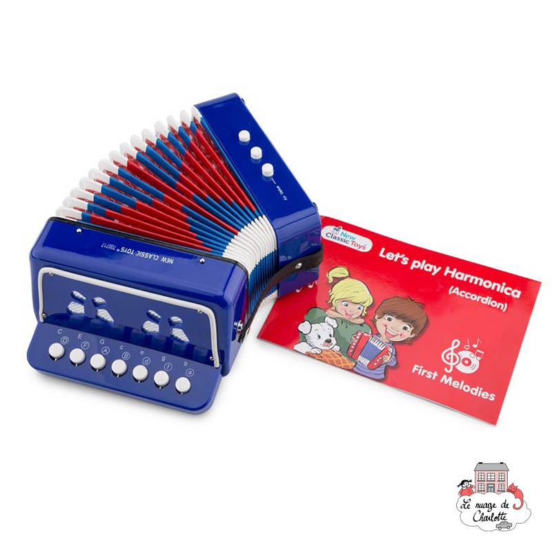 Accordion - blue with music book - NCT-10056 - New Classic Toys - Wind instruments - Le Nuage de Charlotte