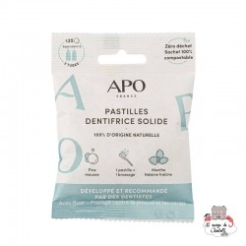 Solid toothpaste - Mint - 125 lozenges - APO-DENSOL125 - APO - Zero waste cosmetics - Le Nuage de Charlotte