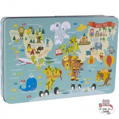 """World Map Puzzle """"By Marina Hogan"""" - APL-14550 - APLI - For littles - Le Nuage de Charlotte"""