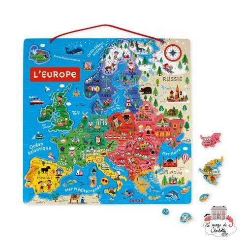 Magnetic European Map - JAN-J05476 - Janod - Education and Magnets - Le Nuage de Charlotte