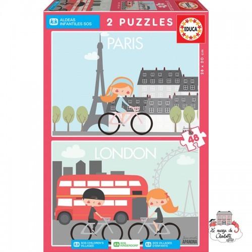 SOS Children's Villages 2 puzzles 48 pieces - Paris / London - EDU-17726 - Educa Borras - For littles - Le Nuage de Charlotte
