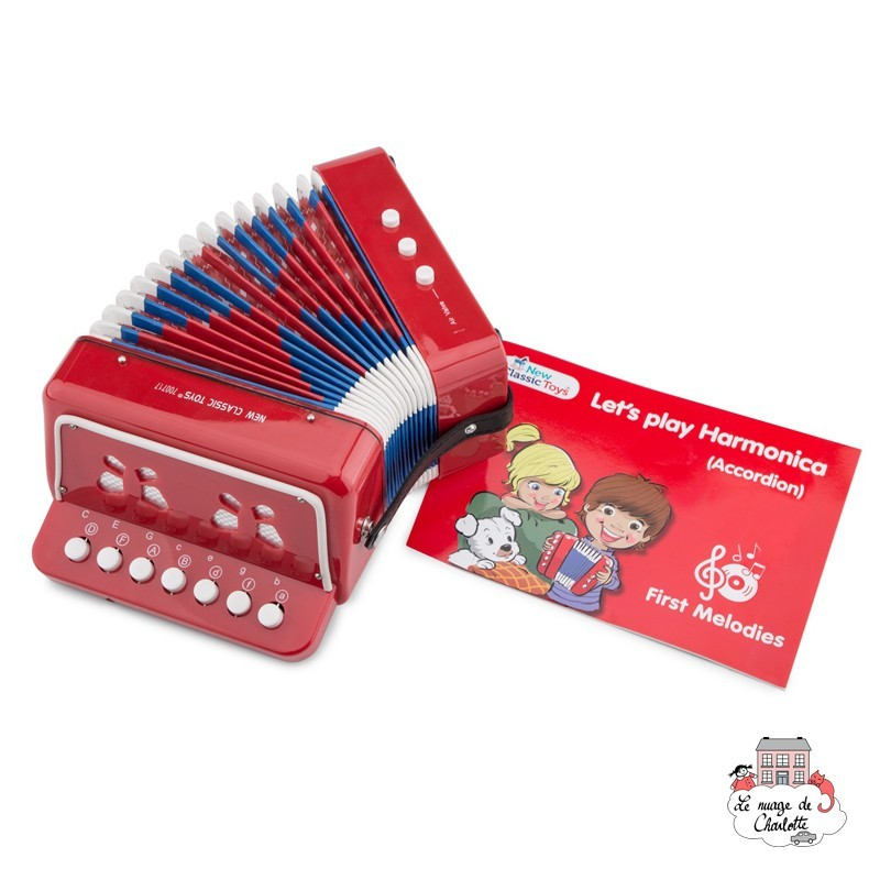 Accordion - red with music book - NCT-10055 - New Classic Toys - Wind instruments - Le Nuage de Charlotte