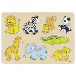 Zoo animals, lift-out puzzle - GOK-8657874 - Goki - Wooden Puzzles - Le Nuage de Charlotte