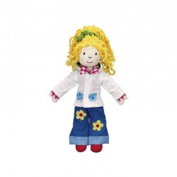 Dress-up doll with wardrobe, 7 complete outfits
