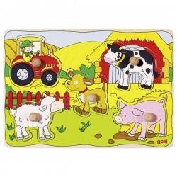 Lift out puzzle, on the farm - GOK-8657589 - Goki - Wooden Puzzles - Le Nuage de Charlotte
