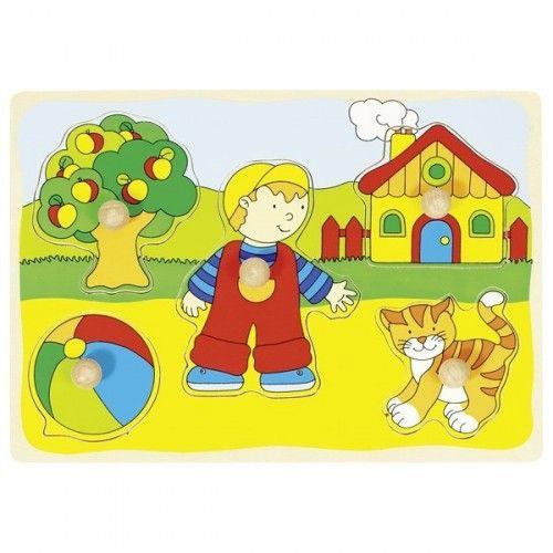 Chat, maison,... puzzle à encastrements - GOK-8657858 - goki - Puzzle en bois - Le Nuage de Charlotte