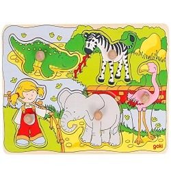 Zoo animals, lift-out puzzle - GOK-8657515 - Goki - Wooden Puzzles - Le Nuage de Charlotte