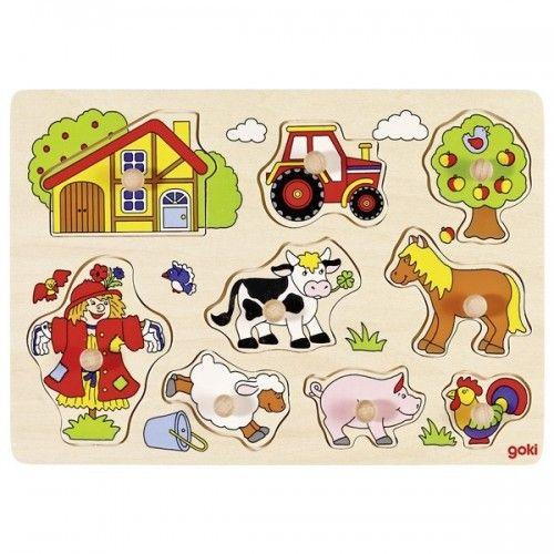 Farm VI, lift-out puzzle - GOK-8657995 - Goki - Wooden Puzzles - Le Nuage de Charlotte