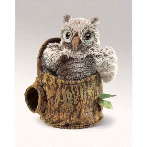 Owlet in Tree Stump - FLK3035 - Folkmanis - Hand Puppets - Le Nuage de Charlotte