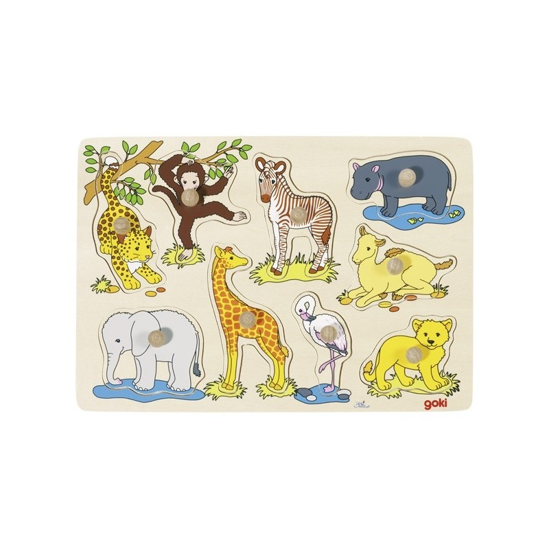 Wild baby animals, lift-out puzzle - GOK-8657829 - Goki - Wooden Puzzles - Le Nuage de Charlotte