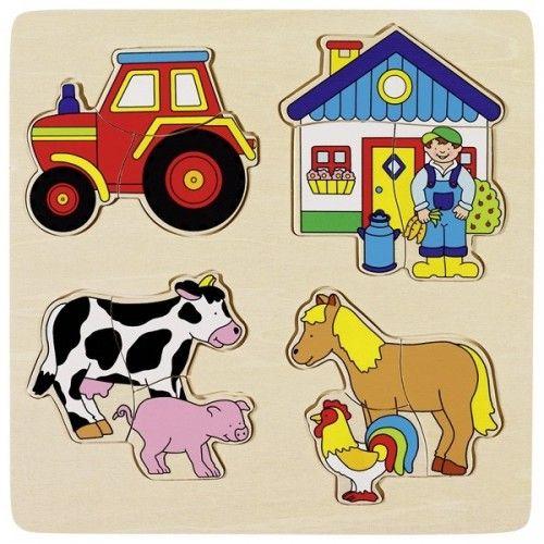 Farm, inlay puzzle - GOK-8657902 - Goki - Wooden Puzzles - Le Nuage de Charlotte