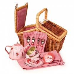 Tin-Tea Set Ladybug in a Basket