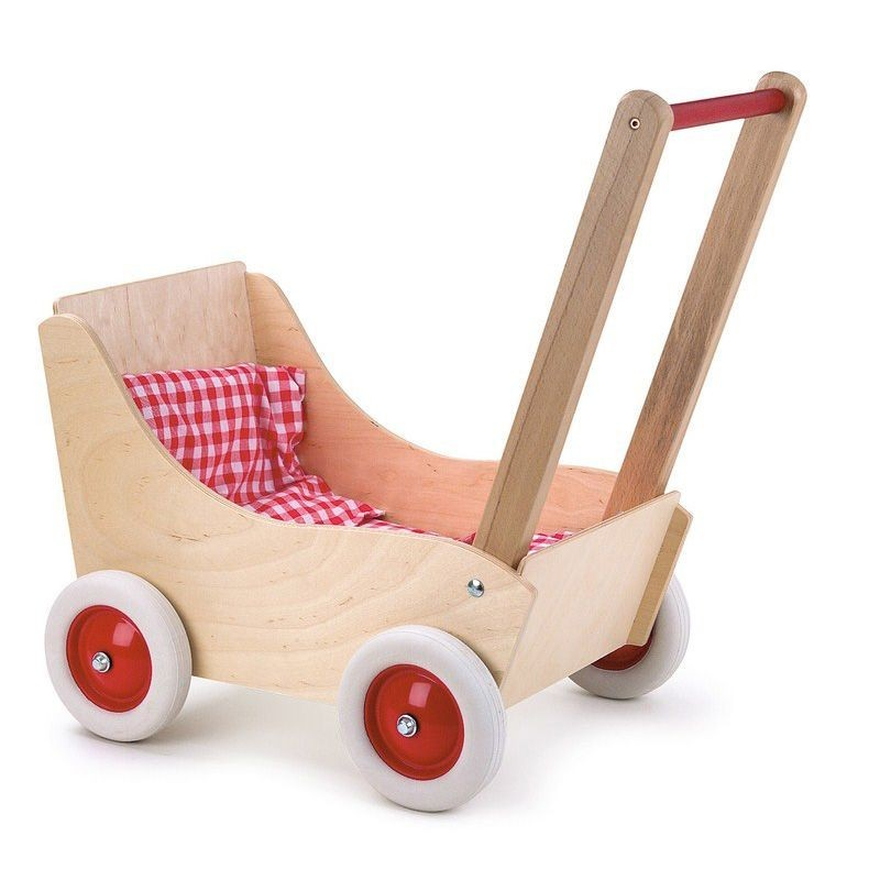 Beech pram with red gingham fabric - EGT0016 - Egmont Toys - Doll's Accessories - Le Nuage de Charlotte