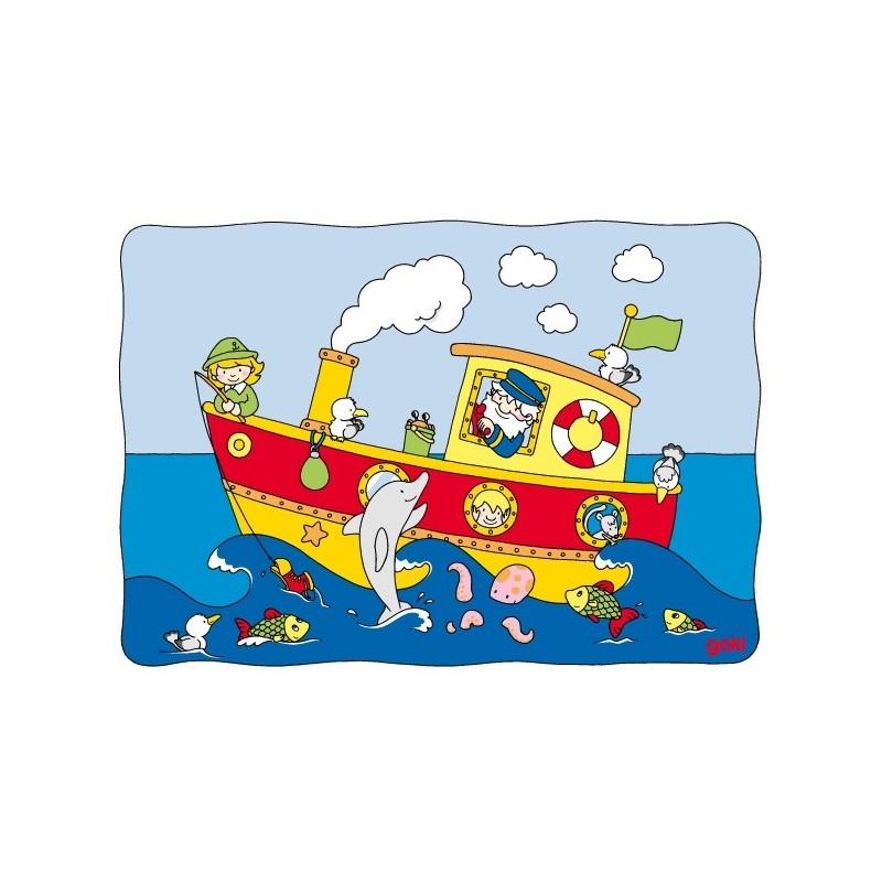 Sliding puzzle, boat - GOK-8657597 - Goki - Wooden Puzzles - Le Nuage de Charlotte