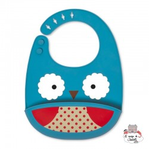Zoo Fold & Go Silicone Bib - Owl