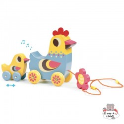 The hen and the chick pull along musical toy - VIL-7738 - Vilac - Pull Along Toys - Le Nuage de Charlotte