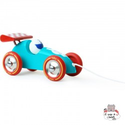 Turquoise & Red pull along racing car - VIL-2309B - Vilac - Pull Along Toys - Le Nuage de Charlotte