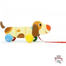 Basile dog pull toy - VIL-4606 - Vilac - Pull Along Toys - Le Nuage de Charlotte