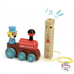 Train pull toy with a whistle - VIL-7715 - Vilac - Pull Along Toys - Le Nuage de Charlotte