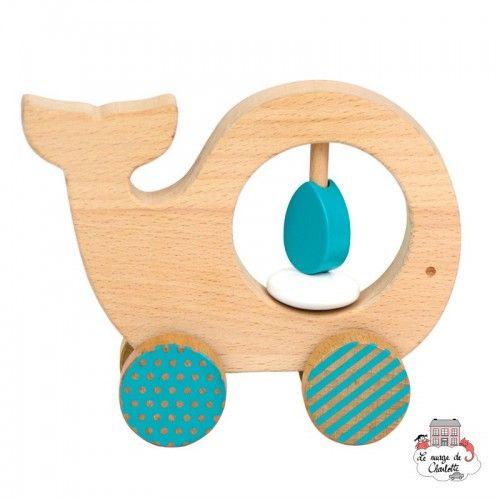 """Wooden Push Along """"Whale"""" - PTC-5074388 - Petit Collage - Push along - Le Nuage de Charlotte"""