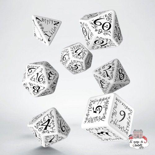 Elvish White & black Dice Set (7) - QWO0003 - Q Workshop - Dices, bags and other accessories - Le Nuage de Charlotte