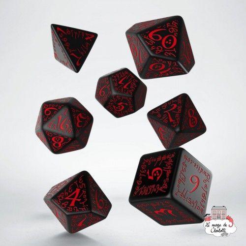 Elvish Black & red Dice Set (7) - QWO0004 - Q Workshop - Dices, bags and other accessories - Le Nuage de Charlotte