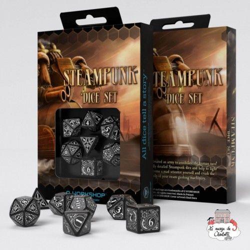 Steampunk Black & white Dice Set (7) - QWO-SSTE05 - Q Workshop - Dices, bags and other accessories - Le Nuage de Charlotte