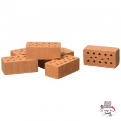 Teifoc Lot of 32 red regular bricks - TEI-906601 - Teifoc - Clay Bricks - Le Nuage de Charlotte