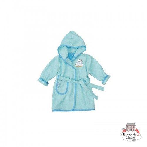 Bébé-jou Peignoir de bain (T86/92) - Pompon turquoise - BBJ0009 - bébé-jou - Gants de toilette, essuie, cape, etc... - Le Nua...
