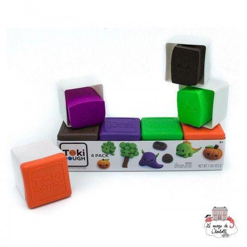 Toki Dough 4 Packs - orange/vert/violet/brun - RPL-890310400 - Relevant Play - Sable et pâtes à modeler - Le Nuage de Charlotte