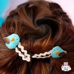 Hair Clips - light blue bird - hairclipbl - By Nébuline - Hair Accessories - Le Nuage de Charlotte
