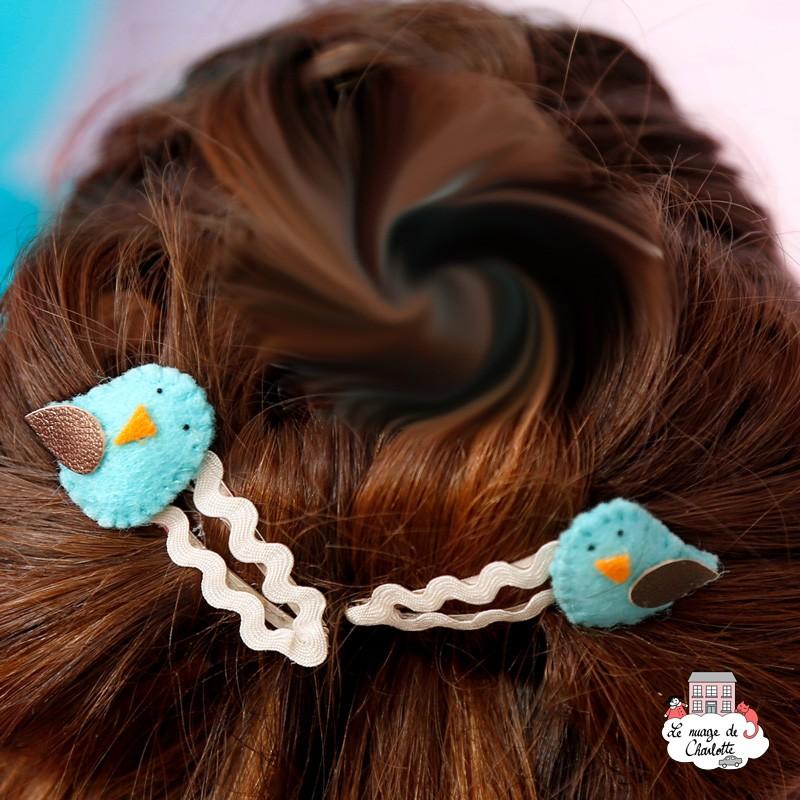 Hair Clips - light blue bird - hairclipbl - By Nébuline - Hair Accessories - Le Nuage de Charlotte